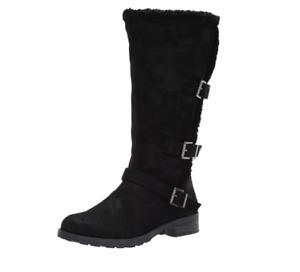 White Mountain Women Fashion Winter Boot Santell Size US 7M Black Faux Fur Lined
