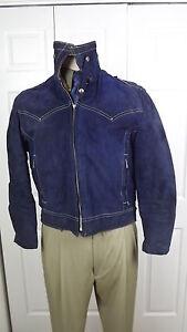 Sz M 70's Vtg AMF Harley Davidson Blue Leather Motorcycle Jacket Sheepskin Lined