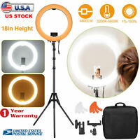 "18"" LED Ring Light Kit with Tripod Stand Dimmable 5500K for Makeup Phone Camera"