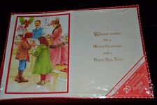Vtg Charm Craft Christmas Cards OLD-FASHIONED CANDY SHOP Gold Bronzed 20 NIP