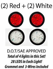 "4"" Inch Red 28 LED Round Stop Turn Tail Backup Truck Light Kit  2 Red & 2 White"