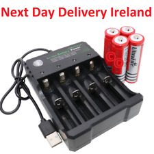 4X 18650 Li-ion Battery Batteries 3.7V Rechargeable USB Charger Laser Flashlight