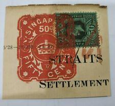 Straits Settlement King George V KGV 50cents Fiscal used Singapore Postmark