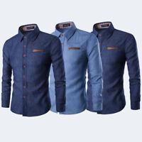 Men's Luxury Denim Long Sleeve Shirt Casual Slim Fit Stylish Dress Shirts Tops
