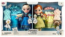 New Disney Store Singing Frozen Animators Collection Anna and Elsa Doll Gift Set