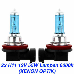 2x H11 PGJ19 Auto Lampe 55W 12V Xenon Look Super White Blue Vision Halogen 6000K