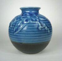 Pottery Vase Hand Crafted Blue Brown Ceramics Glaze Drip Made in Vietnam  Flower