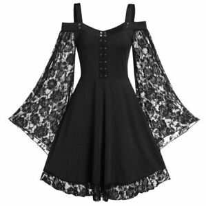 Gothic Woman Dress Long Flared Sleeve Lace Goth Rock - UK Seller