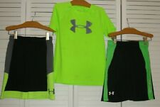 Under Armour Youth Boys Gray Green Black Play Outfit Shorts Heat Gear Shirt 7