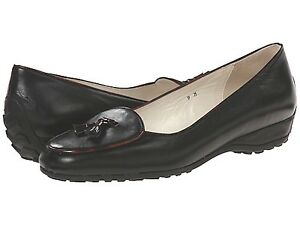 NIB Sesto Meucci leather driver loafer shoes Black/tortoise 7,5 Italy