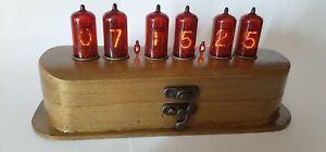NIXIE Tube Clock Vintage Z570M RED Desk clock Unique HandMade RETRO