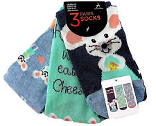 3 Paar Damen Socken Strümpfe Maus Mäuse Mäuschen Käse Lustig Bunt 37-42 Primark