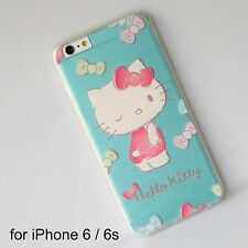 Hello Kitty Light BlueTransparent Soft Silicone Back Cover Case iPhone 6 /6s