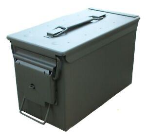New 50 Cal + Lock Eye Army Ammo Metal Storage Ammunition Surplus Tin Tool Box
