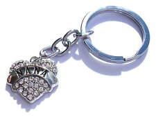 Nana Keyring Chrome Metal Heart Diamondite Chrome Key Chain Gift Boxed
