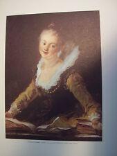 Honore Fragonard, L'Etude, Musee Du Louve, Paris France, Lithograph Reproduction