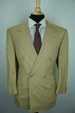 Canali Light Brown Beige Woven 100% Wool 2 Piece Suit Jacket Pants Sz 42S