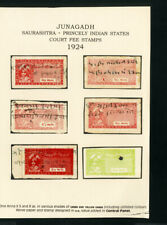 Indian States 6x Junagadh Stamps 1924 VF Court Fee Stamps