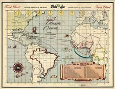 1950 PICTORIAL map Delta Steamship Lines Atlantic Ocean ports POSTER 8336000