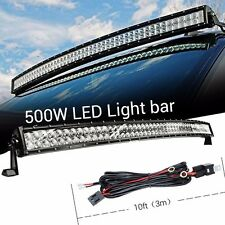 52Inch 500W LED Work Light Bar Curved Flood Spot + Wiring Harness for JEEP TRUCK