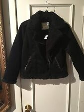 NWT ABERCROMBIE & FITCH KIDS FAUX SHEARLING AVIATOR JACKET BLACK SIZE 13/14