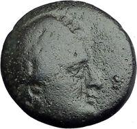 AIGAI in AEOLIS 2-1stCenBC Authentic Ancient Greek Coin APOLLO & GOAT i62640