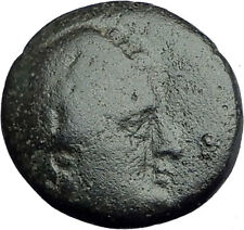 AIGAI in AEOLIS 2-1stCenBC Authentic Ancient Greek Coin APOLLO & GOAT i62640