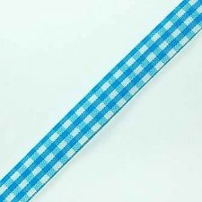 6 YARDS BLUE GINGHAM RIBBON 10MM  FOR CARDS OR CRAFTS