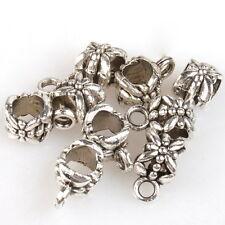 100 Flower Loop Bail Tibetan Silver European Charms Pendant Beads Jewelry Making