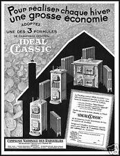 PUBBLICITA' 1939 IDEAL CLASSIC STUFA LEGNA CARBONE CALDAIA  RADIATORE MODELLI
