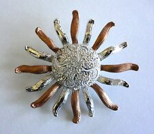 Crystal Brooch Silver Plated Sun Flower Enamel Christmas Gifts Free Shipping