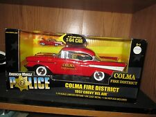 1957 chevy belair red   american muscle colma fire 1/18 + 1/64 car 33044 57 chev