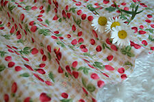 Small Strawberries/Cherries Beiges Gingham 100% Cotton Fabric FAT QUARTER