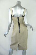 DOLCE & GABBANA Womens Beige Linen Suspender Sleeveless Knee-Length Dress 44 NEW