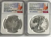 2019 W $1 & $5 SILVER REVERSE PROOF NGC PF70 ER PRIDE OF TWO NATIONS 2 COIN SET