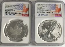 2019 W $1 & $5 SILVER REVERSE PROOF NGC PF70 ER PRIDE OF TWO NATIONS 2 COIN SET.