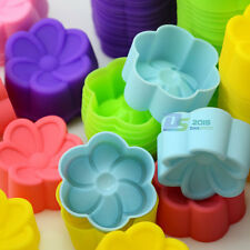 10x Silicone Rose Cup Cake Muffin Cupcake Egg Tart Cases Baking Moulds Pan