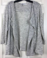 BOBEAU Sz L White & Grey With Black Specks Open Front Cardigan Wrap Sweater