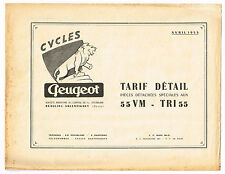 ANCIENNE BROCHURE PEUGEOT TARIF PIECES DETACHEES 55 VM TRI 55 1955