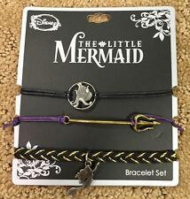 Disney The Little Mermaid Ariel  Purple Black Bracelet Set New With Tags!