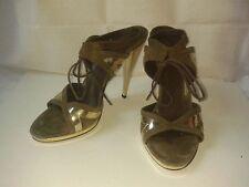 Sandali GUCCI marroni con profili color oro - taglia 39,5