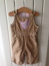 Baby Girl's Clothes 3-6 Months - Beige Corded Birdy Theme Dungarees By GAP