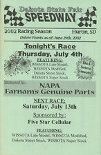 Dakota State Fair Speedway program, Huron, SD 2002 dirt-track racing memorabilia