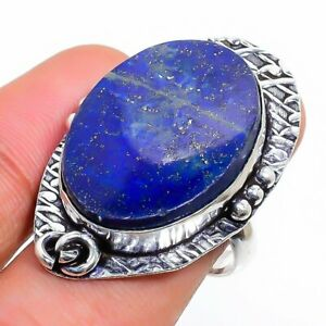 Lapis Lazuli Gemstone Handmade 925 Sterling Silver Jewelry Ring Size 6.5 H249