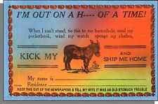 40's Comic Postcard #30254 - I'm Out On a H--- of a Time! Keep Out of The Papers