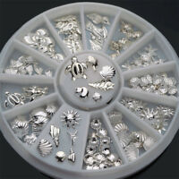 120Pcs 3D Nail Art Decoration Mini Ocean Silver Shell Conch Charm Accessories