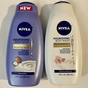 NIVEA Nourishing Body Wash Serum 20 oz Shea Butter Botanical Blossom 2 Bottles