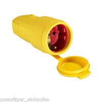 AS Schwabe Gummi Kupplung IP44 Gelb 230V/ 16A 2,5mm² Schukokupplung Spritzwasser