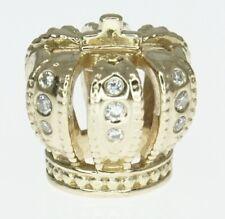 14K Yellow Gold ALE Pandora Charm Bracelet Bead Diamond Royal Crown