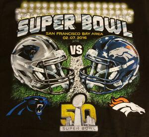 Super Bowl 50 Denver Broncos vs Panthers T Shirt S Small NWOT Football INV416